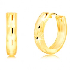 Šperky eshop - Okrúhle náušnice zo 14K žltého zlata so zvislými zrnkovými jamkami GG218.13