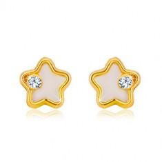 Šperky eshop - Zlaté náušnice 585 - hviezdička s bielou prírodnou perleťou  a čírym zirkónom GG36 47b6c44362c