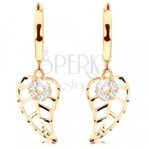 Zlaté okrúhle 14K náušnice - vyrezávaný list a kruh vykladaný diamantmi