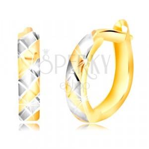 Okrúhle náušnice v 14K zlate s bielo-žltými pásikmi, zárezmi a ruským zapínaním