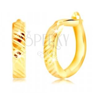 Náušnice zo žltého zlata 585 - ovály s tenkými šikmými zárezmi, ruský patent