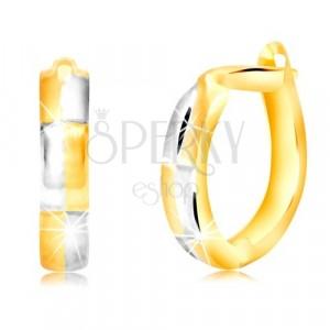 Oválne náušnice v 14K zlate s obdĺžnikovým motívom v dvojfarebnom prevedení