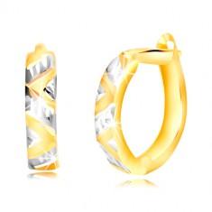 Šperky eshop - Náušnice zo žltého a bieleho zlata 585 - vybrúsené šikmé pásy, zárezy GG218.19