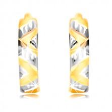 Náušnice zo žltého a bieleho zlata 585 - vybrúsené šikmé pásy, zárezy