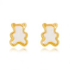 Šperky eshop - Puzetové náušnice zo žltého 14K zlata s prírodnou perleťou - medvedík GG36.21