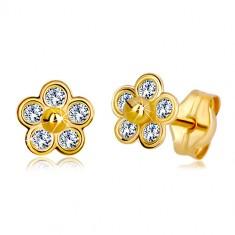 Šperky eshop - Zlaté náušnice 585 - päťlupeňový kvet so zirkónmi a zlatou  guličkou v strede c5949731c37