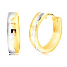 Okrúhle náušnice zo zlata 585, dvojfarebné, s gravírovanou vlnkou v strede