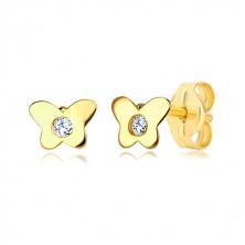 Náušnice v 14K žltom zlate - motýlik s čírym zirkónom, puzetové zapínanie