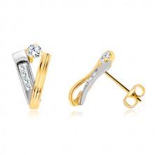 Zlaté 14K náušnice - stuha zo žltého a pás z bieleho zlata, číre zirkóny
