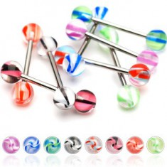 Šperky eshop - Piercing do jazyka gulička špirálka N26.5 - Farba piercing: Čierna - Ružová
