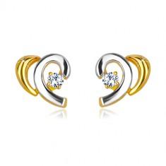 Šperky eshop - Náušnice z kombinovaného 14K zlata - rozpolené srdiečko so zirkónom GG36.27