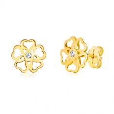 Šperky eshop - Náušnice zo žltého zlata 585 - kvet s vyrezávanými srdiečkami, zirkón GG36.35