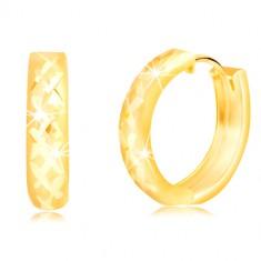 Náušnice v 14K žltom zlate - matné krúžky s ligotavou mriežkou 7f3c21b5ba4