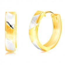 Náušnice zo 14K zlata - matné dvojfarebné pásiky s lesklými líniami