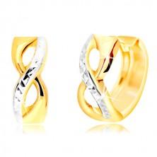 Okrúhle náušnice zo 14K zlata - symbol nekonečna s vybrúsenou líniou