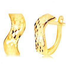 Náušnice v 14K žltom zlate - zvlnený pás so zrniečkami, ruský patent
