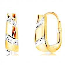 Náušnice zo zlata 585 - rozširujúci sa pás s líniami z bieleho zlata