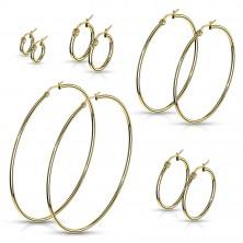 Náušnice z chirurgickej ocele - jednoduché lesklé kruhy v zlatom odtieni