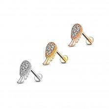 Piercing do brady a pery, z ocele 316L - anjelské krídlo a slzička so zirkónmi