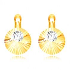 bec6ccce0 Šperky eshop - Náušnice zo žltého 14K zlata - žiarivé slnko, ozdobný kruh  so zirkónom