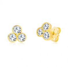 4919422a7 Šperky eshop - Puzetové náušnice zo žltého zlata 585 - trojlístok s trblietavými  zirkónmi GG19.25