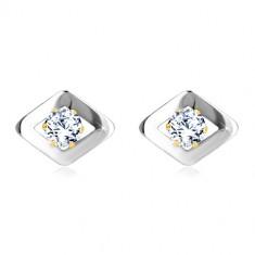 Šperky eshop - Náušnice z kombinovaného zlata 585 - kosoštvorec v bielom  zlate a zirkón GG19 a1312150e4a