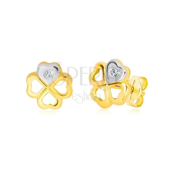 Náušnice zo 14K zlata - kontúra symbolu šťastia, srdiečko so zirkónom