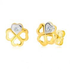 ac8b54373 Náušnice zo 14K zlata - symbol šťastia, srdiečko v bielom zlate a briliant