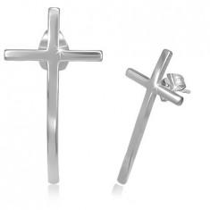 Šperky eshop - Puzetové náušnice z chirurgickej ocele - úzky kríž s lesklým povrchom S11.31