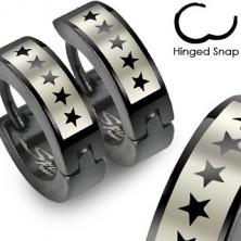 Čierne náušnice z ocele - motív hviezdičky
