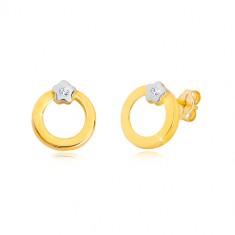893929713 Briliantové náušnice v 14K zlate - kruh s diamantom v kvietku z bieleho  zlata