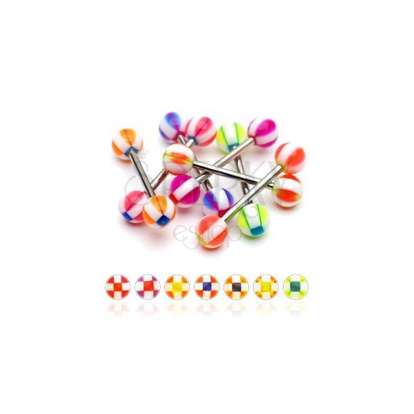 Piercing do jazyka gulička so štvorčekmi