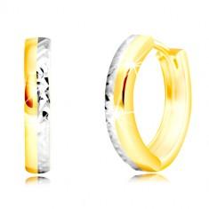 Šperky eshop - Náušnice z kombinovaného zlata 585 - úzky kruh s vybrúsenou  polovicou GG219. 9f151557fe9