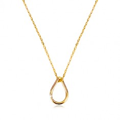 Šperky eshop - Náhrdelník v žltom 9K zlate - obrys slzy, tenká retiazka z oválnych očiek GG60.19