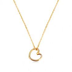 51b50ef98 Šperky eshop - Náhrdelník zo žltého zlata 375 - kontúra symetrického srdca,  jemná retiazka GG60