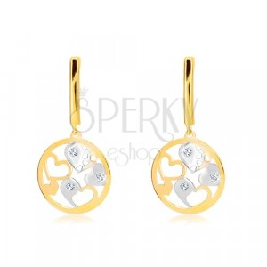 Náušnice v 14K zlate - úzky pás, kruh s dvojfarebnými srdiečkami, zirkóny