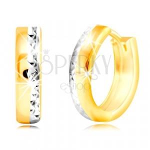 Okrúhle náušnice v 14K zlate - brúsená hrana s vrstvou bieleho zlata