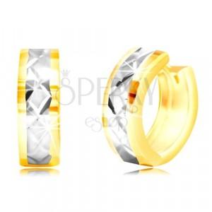 Okrúhle náušnice v 14K zlate - plôšky, pás z bieleho zlata, mriežka