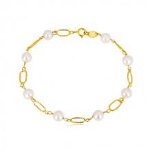 Náramok v žltom zlate 585 - biele guľaté perly, oválne očká so zárezmi