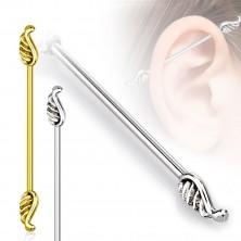 Piercing do tragusu ucha z ocele 316L - anjelské krídla, 1,2 mm