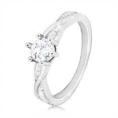 c610ec57c Zásnubný prsteň zo striebra 925 - okrúhly zirkón, zvlnené lesklé línie,  zirkóniky