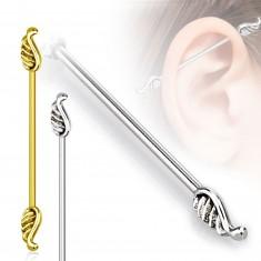Piercing do ucha z chirurgickej ocele - dlhšia činka ukončená krídlami, 1,6 mm