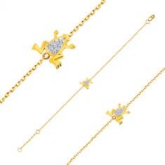 bd182d770 Náramok v 14K zlate - jemná retiazka, žabka s bielym zlatom a zirkónmi