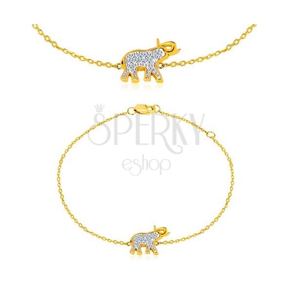09b7d88e8 ... Náramok zo 14K zlata - sloník s trblietavými zirkónmi, jemná lesklá  retiazka ...
