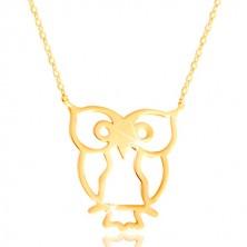 Náhrdelník zo žltého zlata 585 - sova symbol múdrosti, lesklá tenká retiazka