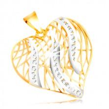 Prívesok v 14K zlate - kontúra srdca, plamene v bielom zlate so zirkónmi