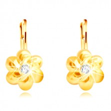 Zlaté náušnice 585 - kvet so šiestimi oblými lupienkami, číry zirkón uprostred