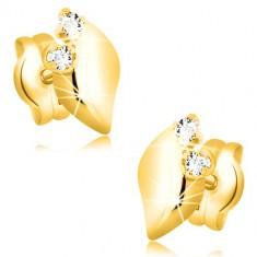 e2fe4280e Šperky eshop - Náušnice v 14K žltom zlate - lesklý lístoček s dvomi čírymi  zirkónmi GG22