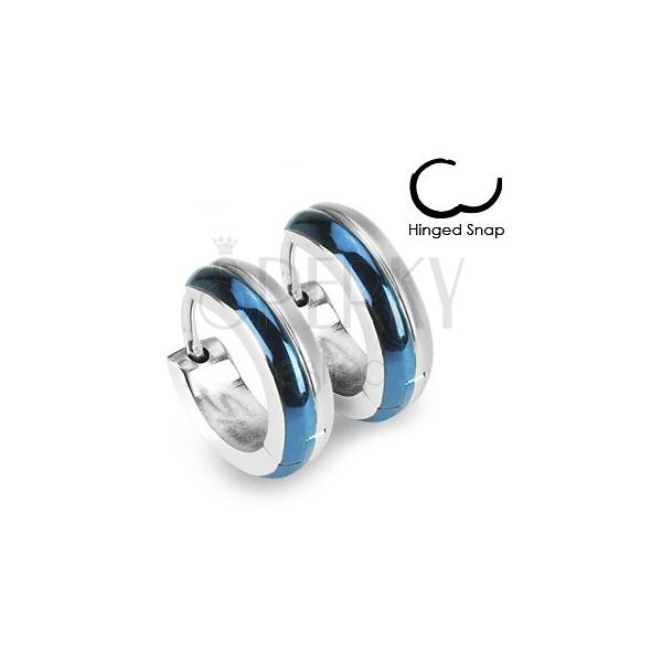 Okrúhle oceľové náušnice - kombinácia modrej a striebornej farby