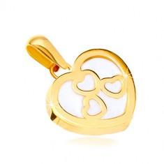 37e93e91c Šperky eshop - Prívesok v žltom zlate 585 - lesklý obrys srdca s perleťou,  tri srdiečka GG37.19 e-shop >>